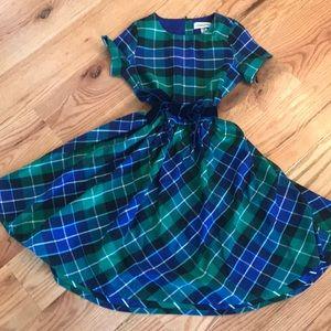 Land's End Plaid Dress with Velvet Belt